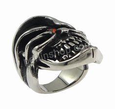 Edelstahl Fingerring, Schädel, mit Strass & hohl & Schwärzen, 32.50mm, Größe:7, 10Stücke/Gruppe, verkauft von Gruppe - perlinshop.com