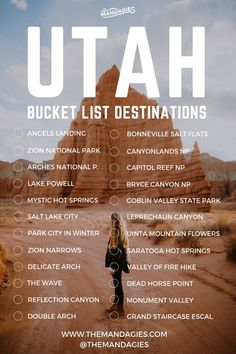 The Complete Utah National Parks Road Trip Itinerary (Hikes, Photo Spots + MORE!) - The Mandagies - - Discover the best route to see all of Utah in one trip! In this post, we're sharing our favorite route through all 5 of the Utah national parks! Las Vegas, Nationalparks Usa, Voyage Usa, Usa Tumblr, Trip Planner, Bucket List Destinations, Us Travel Destinations, Road Trip Usa, West Coast Road Trip