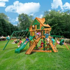Imagine the joy when the kids or grandkids get their first look at this beauty of a play set. This premium cedar wood swing set is pre-cut, pre-sanded, pre-stained and ready to assemble in your backyard over the weekend.