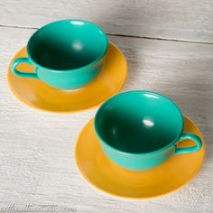 2 Vintage Cups and Saucers -- 2 Sets -- Turquoise Cups and Yellow Plates -- Anchor Hocking