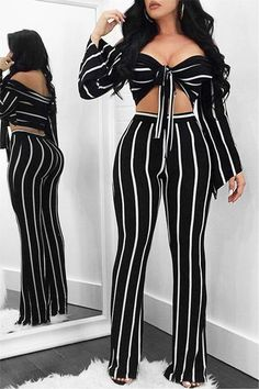 Sexy Off Shoulder Striped Flare Pants – Trendylov Dress Outfits, Casual Dresses, Girl Outfits, Fashion Outfits, Womens Fashion, Cute Fashion, Look Fashion, Classy Outfits, Pretty Outfits