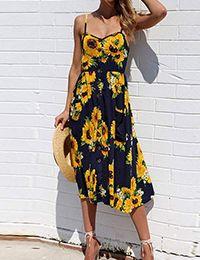 Summer sunflower dress women party dress plus size flower beach dress floral backless midi striped dress ladies Dresses Short, Casual Dresses, Summer Dresses, Maxi Dresses, Ladies Dresses, Cheap Dresses, Inexpensive Dresses, Midi Skirts, Floral Dresses