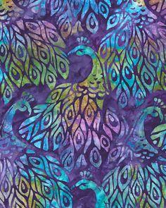 Fancy Feathers 2 - Nouveau Peacock Batik - Dk Purple