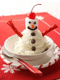 """Snowday treat for the kids....keep ingredients handy for a Snowman sundae (if it doesn't snow where you live, pick a city where it does snow and when it snows there...celebrate your own """"snow day""""!"""