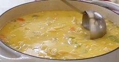 Soupe crémeuse à la dinde et aux nouilles Sauce Crémeuse, Cheeseburger Chowder, Soup Recipes, Appetizers, Gluten, Point, Food, Quiche, Shower