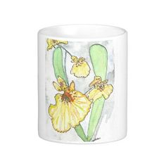 Yellow Orchid White 11  or 15 oz Classic Mug From an original Watercolor Painting Garden Nature Floral Bird Coffee Tea by MBrothertonArt on Etsy