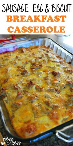 Breakfast Casserole With Biscuits, Overnight Breakfast Casserole, Bacon Breakfast, Breakfast Dishes, Breakfast Recipes, Ham And Egg Casserole, Breakfast Ideas, Sausage And Egg, Brunch Recipes