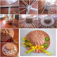 DIY Weaving Pretty Hats from Newspaper Tubes (diy paper hat) Newspaper Basket, Newspaper Crafts, Recycled Crafts, Diy And Crafts, Arts And Crafts, Paper Weaving, Weaving Art, Weaving Projects, Craft Projects