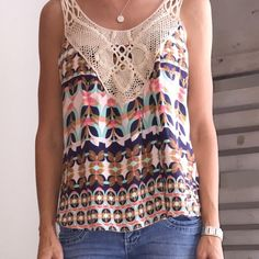 Crochet Patterned Cami - Lily White A Lily White bold print tank that's versatile for every wardrobe. Size medium Lily White Tops Camisoles