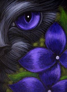 Art: BLACK CAT BEHIND THE VIOLET FLOWERS 2 by Artist Cyra R. Cancel