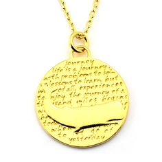 Whale Gold Vermeil Sterling Silver Large Pendant Necklace (Journey quote)