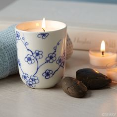 Bourbon Vanilla Soy Wax Candle in Decorative Ceramic Cup