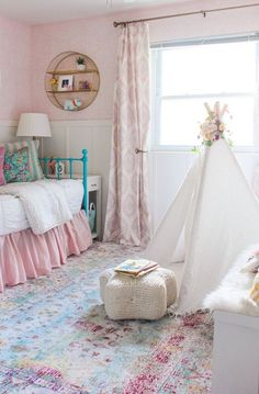 My Daughter's Room Refresh is part of Girls room rugs - How I gave my daughter's room a refresh by switching out the rug, adding curtains, new bedding, and adding a storage bench and teepee Daughters Room, To My Daughter, Child Room, Girls Bedroom, Bedroom Decor, Girls Room Curtains, Bedroom Furniture, Kid Furniture, Bedroom Curtains
