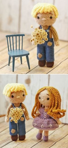 Sweet Crochet Doll Amigurumi Ideas. Almanzo is a very friendly and funny fellow, that loves to pick flowers for his girl. He's always working somewhere in the field or in his yard, to make his house look lovely and inviting. He's going to be a great companion for your kiddo, that's for sure! #freecrochetpattern #amigurumi #toy