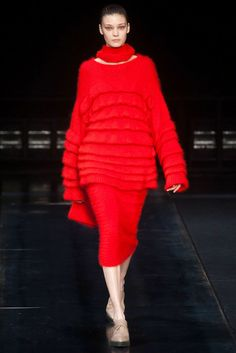 Our Top 50 Looks From New York Fashion Week - The Cut 2014 Red???? has Helmut gone off the deep end, Cathy Horyn's last salutation in the T Magazine for the New York Times, she quit without a word to anyone (perspnal reasons partner is ill) talked about how Helmut Lang and Jil Sander minimalism  changed the face of fashion and made dresses sensible. Helmut hasn't ever done red in my day.
