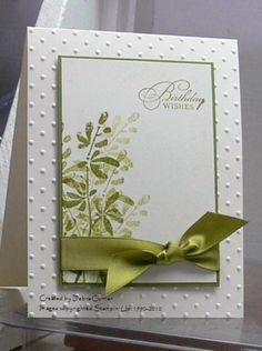 handmade birthdayt card from ARTfelt Impressions ... clean design ...greens ...  Watercolor Trio ... Stampin' Up
