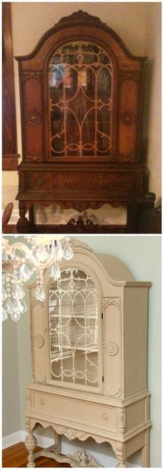 Salvaged Inspirations | Before & After Chalk Painted China Cabinet | Annie Sloan's Country Grey & Old White #shabbychicfurniturebeforeandafter