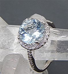 AAA Aquamarine Natural Untreated 9.0mm 2.08 carats 14K White gold and diamond Halo ring 0213