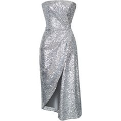 Silver Sequin Slit Dress | Moda Operandi (164.525 RUB) ❤ liked on Polyvore featuring dresses, gowns, sequin evening gowns, high-slit dresses, sequined dress, slit gown and silver gown
