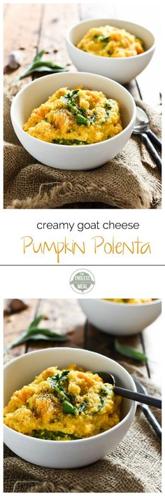 Creamy Goat Cheese and Pumpkin Polenta   this quick and easy to make fall dinner recipe is the perfect way to warm up on a chilly night.   theendlessmeal.com