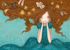:D She has Wonderland in her hair. Lewis Carroll, Art And Illustration, Whimsical Art, Art For Kids, Fantasy Art, Fairy Tales, Wonderland, Pin Up, Art Gallery