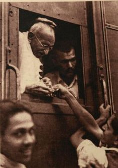 Mahatma Gandhi in a train.