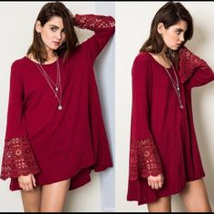 """❤️ Bell Sleeve """"Valentine Red"""" Tunic Top ❤️ Gorgeous NWT Bell Sleeve Tunic Top. Purchased on Posh, but too big for me. This top is gorgeous and perfect for your romantic Valentine's Day night out! ❤️ Tops Tunics"""