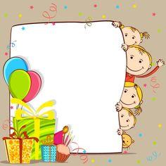 Free Printable Birthday Cards, Free Birthday Card, Birthday Card Template, Kids Birthday Cards, Birthday Wishes, Happy Birthday, Kids Vector, Vector Free, Vector Vector