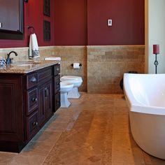 a luxury bathroom interior complete with granite and beautiful tiled floors and walls. Maroon Bathroom, Burgundy Bathroom, Bathroom Red, Bathroom Floor Tiles, Bathroom Ideas, Master Bathroom, Washroom, Paint Bathroom, Neutral Bathroom