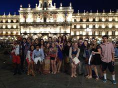 The Aspire by API Salamanca 2012 group celebrating the Fourth of July in Salamanca's Plaza Mayor.  ¡Viva el rojo, el blanco, y el azul!