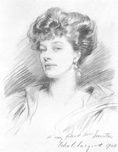 Gilded Age charcoal drawing of Mrs. George Swinton. Artist: John Singer Sargent c.1906.