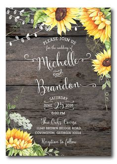 Sunflower Bridal SHOWER INVITATION Wedding Shower Invitation Printed