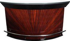 Spacious, semi-circular bar in the elegant Indian Palisander (rosewood) star veneer