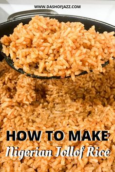 Jollof rice is an extremely popular and flavorful one-pot recipe that is a staple in West African food with a bit of controversy surrounding which country creates the best version. Our family's Nigerian jollof rice recipe will put all disputes to rest! Get this family recipe by Dash of Jazz #dashofjazzblog #westafricanfood #nigerianjollofrice #nigerianrecipes African Recipes, Mexican Food Recipes, Dinner Recipes, Easy Chinese Recipes, Greek Recipes, West African Food, Houston Food, Jollof Rice, Black Food