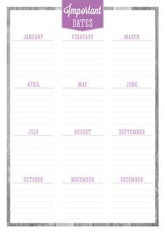 Free Printable Birthdays & Important Dates Planner #freebie #printable #planner #importantdates #free