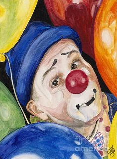 Watercolor Clown #5 Sean Carlock offered by Patty Sue O'Hair - Vicknair Artist.  I am planning on creating 75 of these great clown paintings. Original SOLD