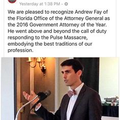 Incredibly proud of one of our YLD members Andrew Fay for his work with the victims of the Pulse tragedy and for winning the 2016 Government Lawyer of the Year Award. ** #proud #lawyer #law #pulse #orlando #florida #governmentlaw