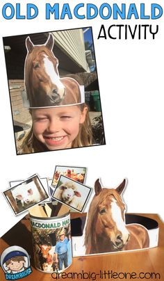 This is a fun large group activity using the familiar Old MacDonald had a Farm song.  Each student wears an animal crown and acts out their farm animal when it is called in the song.  There are 6 different f arm animals with real photographs, included.  Laminate for durability and after this activity; store a few in the dramatic play center for extra play during your Farm theme week.  The crowns are appropriate for young learners (toddlers, preschool and kindergarten).