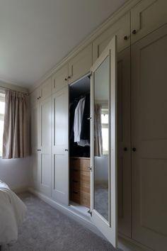 Beautiful shaker wardrobes in Burton on Trent, Staffordshire. Built In Cupboards Bedroom, Bedroom Cupboard Designs, Bedroom Closet Design, Master Bedroom Closet, Closet Designs, Diy Built In Wardrobes, Bedroom Built In Wardrobe, Bedroom Built Ins, Fitted Wardrobes