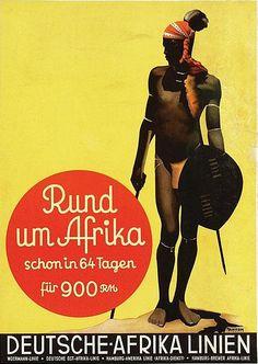 By Ottomar Anton (1895-1976), ca. 1935, Deutsche-Afrika Linien Rund um Afrika. (G)