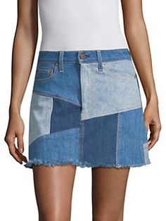 La Patchwork Denim Miniskirt In Keep Steppin Denim Fashion, Boho Fashion, Fashion Dresses, Vintage Fashion, Denim Patchwork, Recycled Denim, Diy Clothing, Farmer, Indigo