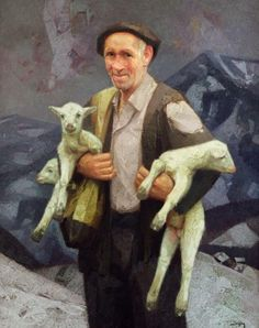 Simeon, Oiz Mendiko Artzaina by Félix Beristain Latino Americano, Basque Country, Spain Travel, Farm Animals, Amazing Art, Art Boards, Sheep, Peaked Cap, Berets