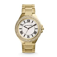 Sale  Camille Gold Tone Glitz Watch Clear stones embellish the case and dial of this classic Michael Kors style, adding glamour and shine. Gold-tone stainless steel and Roman numeral indexes complete your new go-to watch.Click to View Our Michael Kors 2-Year Warranty