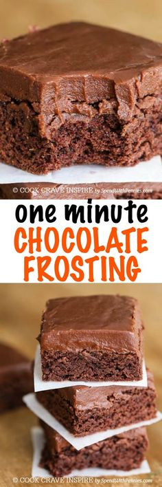 This ONE Minute Easy Chocolate Frosting recipe is likely the quickest frosting you've ever made! It comes together so fast and sets like a dream making this a go-to quick frosting recipe. It's perfect for topping cakes, brownies and more! by corina Chocolate Frosting Recipes, Chocolate Desserts, Chocolate Chips, Brownie Frosting, Cake Chocolate, Cake Icing, Homemade Cake Frosting, Wedding Cake Frosting, Icing Cupcakes