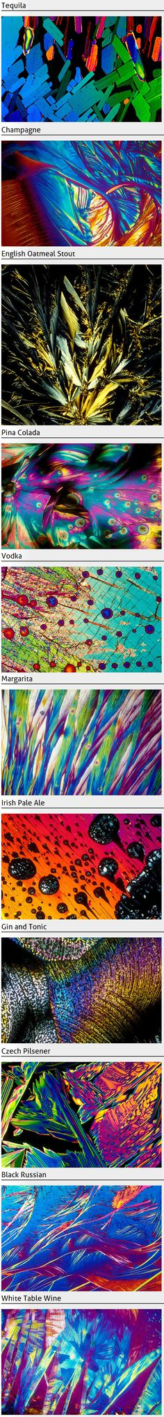 Alcohol under the microscope -  BevShot images are made by first crystallising the drink of choice on a lab slide. Using a standard light microscope with a camera attached, the light source is polarised and passed through the crystal. This creates the magnificent colors. Each colour is a result of the ingredients contained in each beverage.