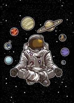 """Beautiful """"Yoga Astronaut Meditates"""" metal poster created by Anziehend . Our Displate metal prints will make your walls awesome. Space Drawings, Space Artwork, Art Drawings Sketches, Cute Galaxy Wallpaper, Wallpaper Space, Pop Art, Astronaut Wallpaper, Space Illustration, Kunst Poster"""