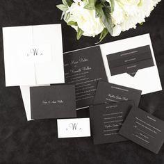 Elegant Black/White Shimmer Pocket Ensemble - Black and white wedding invitation. White shimmer pocket with black invitation and enclosure cards.