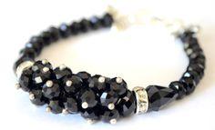 Black Austrian Crystal Cluster Silver Bow Bracelet