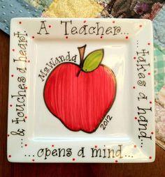 Teacher Plate by LSTNGMemoryCreations on Etsy https://www.etsy.com/listing/257167529/teacher-plate
