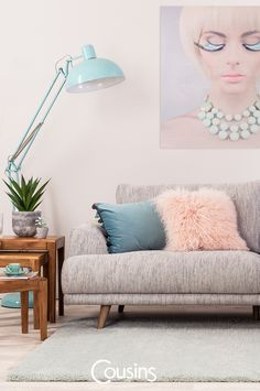 Home and interiors inspiration, latest trends, news and ideas to really make the most of your home. Desk Styling, Large Desk, Shared Rooms, Blue Fabric, Desk Lamp, Interior Inspiration, Floor Lamp, Dining Chairs, Bulb